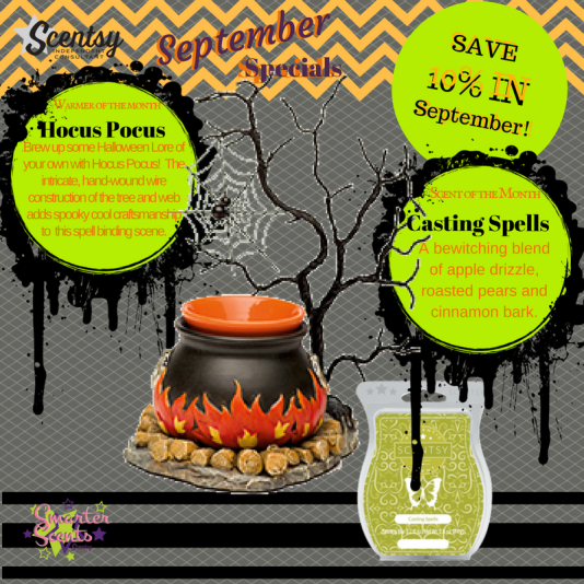 Scentsy's September, 2016 Warmer & Scent of the Month - Hocus Pocus & Casting Spells!